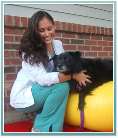Dr. Susan Bonilla and one of her canine rehabilitation patients